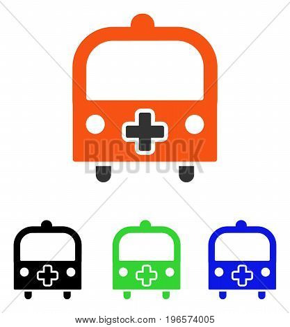 Medical Bus vector pictograph. Illustration style is a flat iconic colored symbol with different color versions.