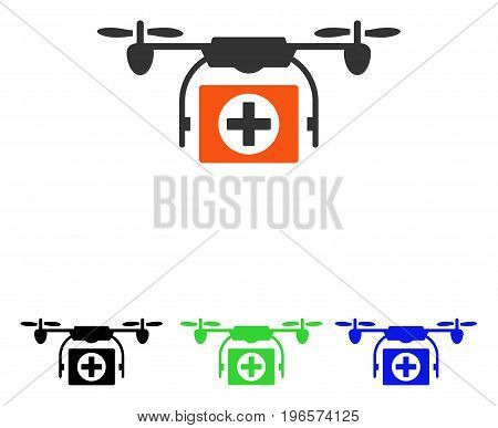 Medical Drone vector pictogram. Illustration style is a flat iconic colored symbol with different color versions.