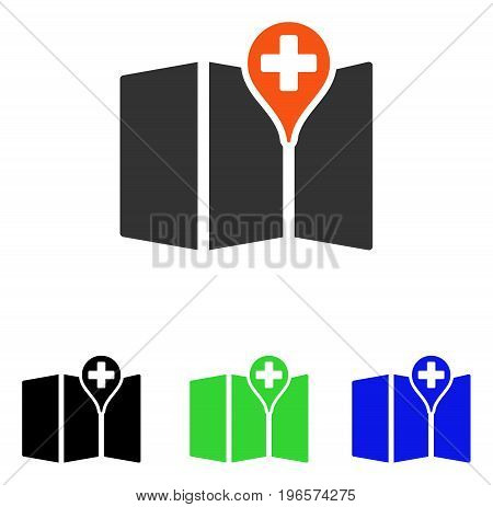 Medical Map vector pictograph. Illustration style is a flat iconic colored symbol with different color versions.