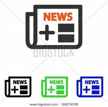 Medical Newspaper vector pictogram. Illustration style is a flat iconic colored symbol with different color versions.