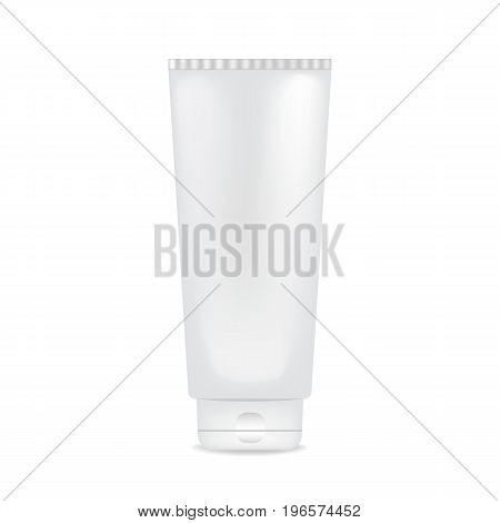White glossy plastic tube for medicine or cosmetics - cream, gel, skin care, toothpaste. Realistic packaging mockup template. Side view. Vector illustration