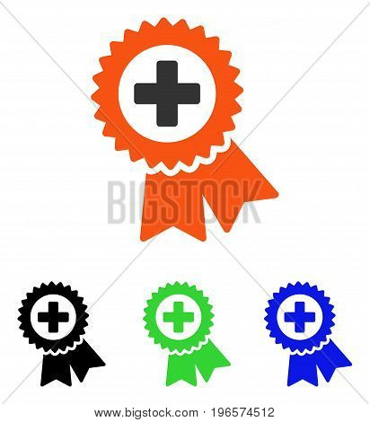 Medical Quality Seal vector pictograph. Illustration style is a flat iconic colored symbol with different color versions.