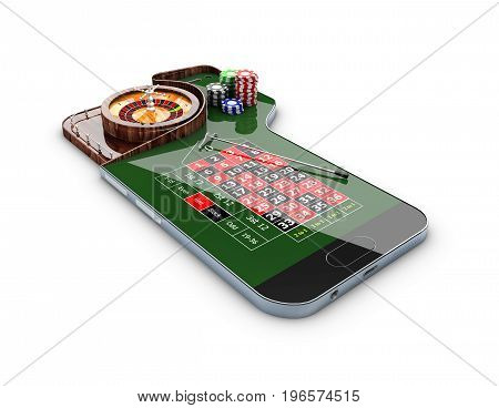3d Illustration of realistic casino roulette table on the phone screen. Casino online concept