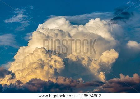 Cumulonimbus cloud against a Wisconsin blue sky in July