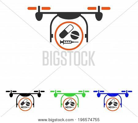 Medication Quadcopter vector icon. Illustration style is a flat iconic colored symbol with different color versions.