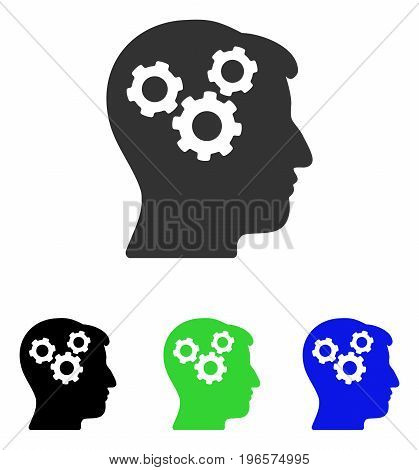 Mind Gears vector icon. Illustration style is a flat iconic colored symbol with different color versions.