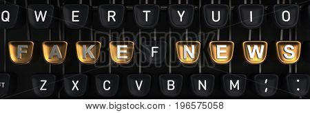 Typewriter with gold buttons in a row, assembling fake news words