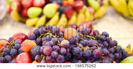 Served Fresh Fruits On A Table,readu For Concuming