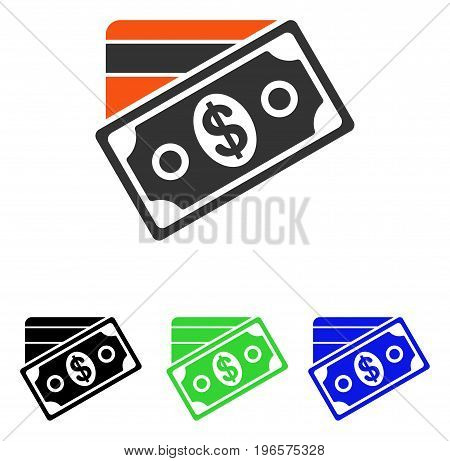 Money vector icon. Illustration style is a flat iconic colored symbol with different color versions.