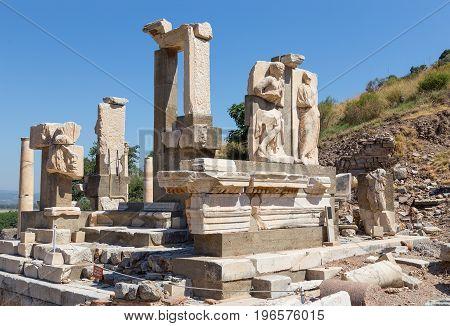 Memmius Monument in ancient Ephesus archaeological site, Turkey