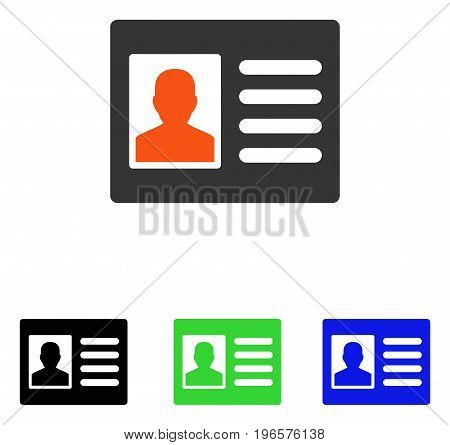 Patient Account vector icon. Illustration style is a flat iconic colored symbol with different color versions.