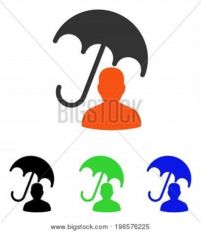 Patient Care Umbrella vector pictogram. Illustration style is a flat iconic colored symbol with different color versions.