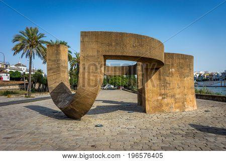 The Guadalquivir River In Seville, Spain, Europe
