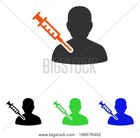 Patient Vaccination vector pictogram. Illustration style is a flat iconic colored symbol with different color versions.