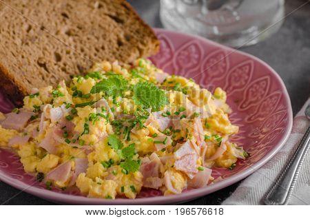 Scrambled Eggs, Wholegrain Bread