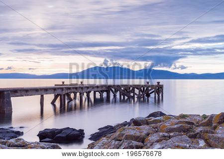 The Old Jetty at Portencross and Arran in the background