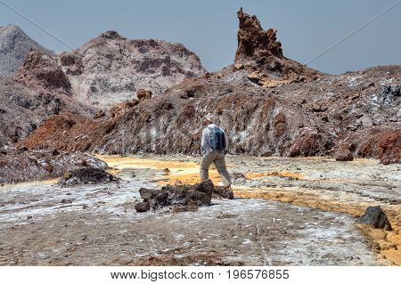 Hormuz Island Nature Hormozgan Province Southern Iran Off-The-Beaten-Path Destinations One traveler follows the path of a salt stream.