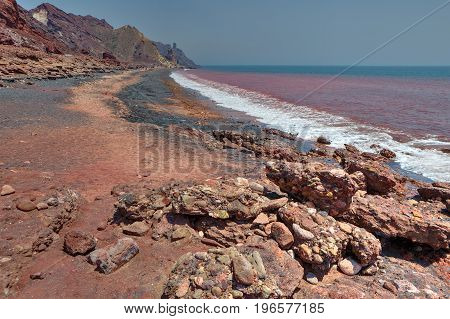 Red coast on the Iranian island of Hormoz Hormozgan Province Southern Iran.