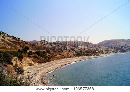 Beautiful beach located next to the Rock of the Greek, the birthplace of the goddess Aphrodite, Cyprus
