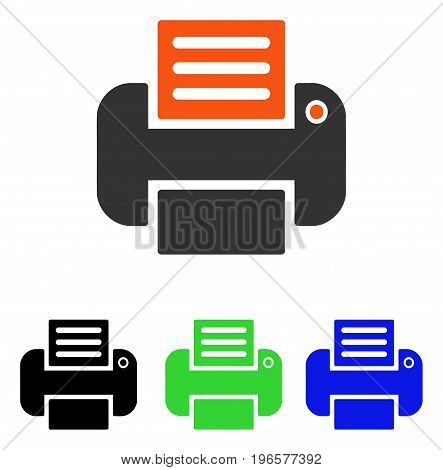Print vector icon. Illustration style is a flat iconic colored symbol with different color versions.