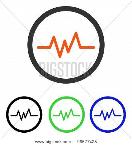Pulse Monitoring vector pictograph. Illustration style is a flat iconic colored symbol with different color versions.
