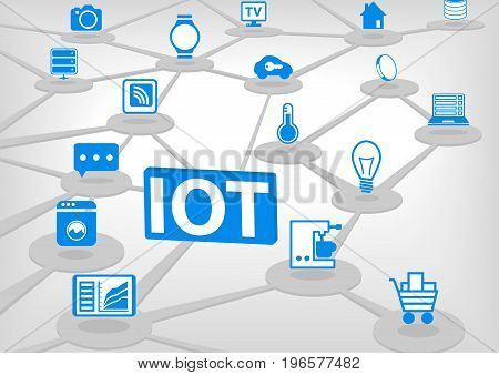 IOT (internet of everything) vector illustration. 3D connection of various objects and devices.