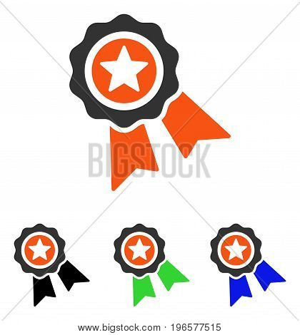 Quality Seal vector pictograph. Illustration style is a flat iconic colored symbol with different color versions.