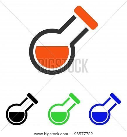 Retort vector pictograph. Illustration style is a flat iconic colored symbol with different color versions.