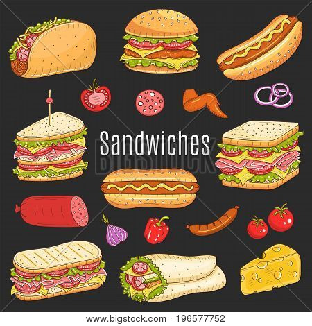 Vector hand drawn illustration of different types of sandwiches, burger, hot dog, club sandwich, taco, hamburger, panini, wrap sandwich isolated on black background, , sketch style.