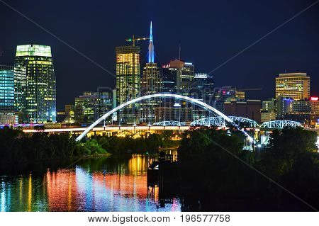 Downtown Nashville Tennessee cityscapes at night time
