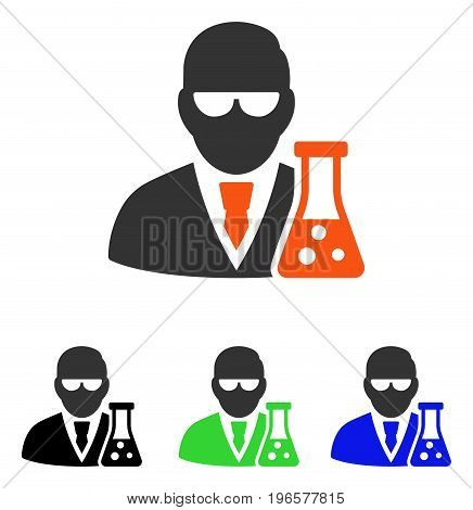 Scientist With Flask vector icon. Illustration style is a flat iconic colored symbol with different color versions.