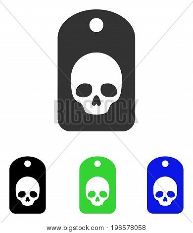Skull Label vector icon. Illustration style is a flat iconic colored symbol with different color versions.