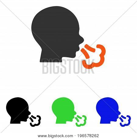 Sneezing vector pictogram. Illustration style is a flat iconic colored symbol with different color versions.