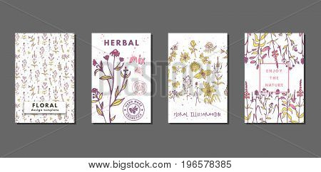 Creative floral summer journaling cards with flowers and herbs. Hand drawn medical cosmetic backgrounds. Vector minimal boho style design for banner, cover, flyer, brochure, wallpaper, invitation