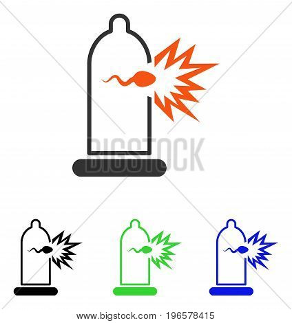 Sperm Escape From Condom vector pictograph. Illustration style is a flat iconic colored symbol with different color versions.