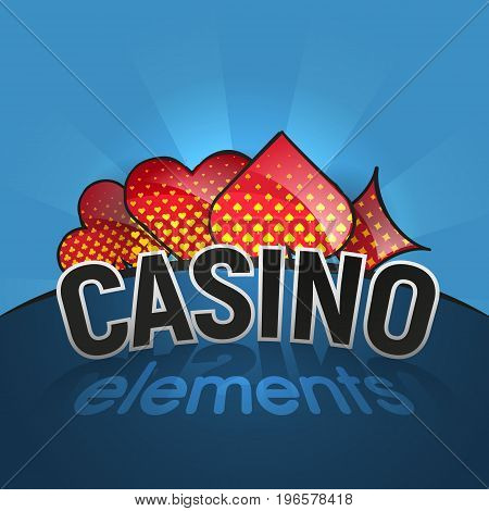 Playing cards suits. Spades, hearts, diamonds, clubs icons. Game cards signs. Isolated vector illustration