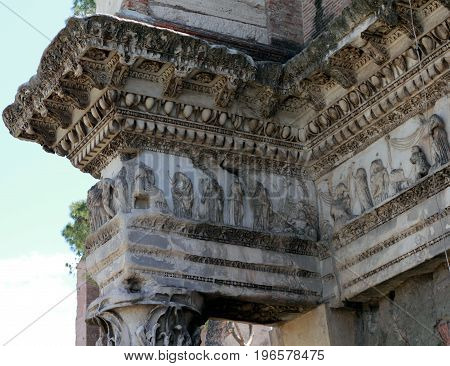 Bas-relief on peristyle at the Temple of Minerva  at the Roman Forum in Rome, Italy