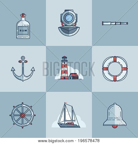 Set of objects on marine theme on blue background. Linear colored icons. Images lighthouse, diver helmet, lifebuoy, bottle of rum, spyglass, anchor, bell, ship steering wheel and sailboat.