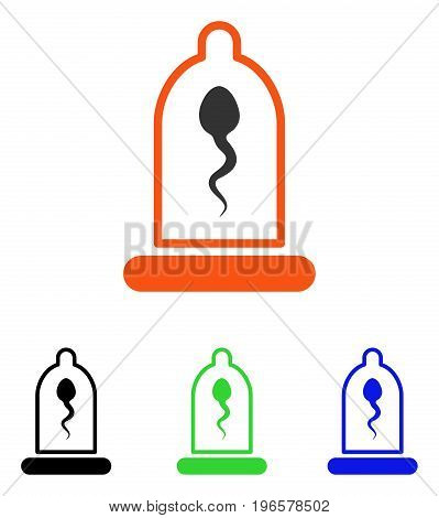 Sperm In Condom vector icon. Illustration style is a flat iconic colored symbol with different color versions.