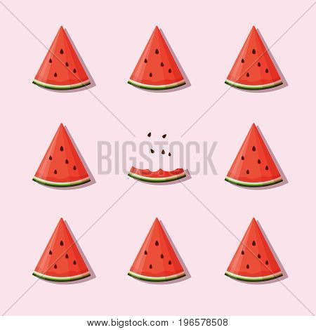 Juicy slices of watermelon on pink background. Vector illustration in flat style.