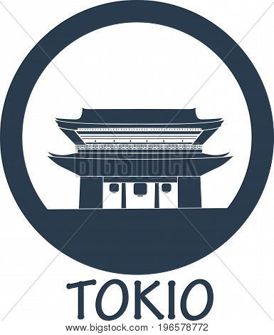 Flat icon attractions in tokio japan in blue color