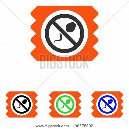 Spermicide Condom vector pictogram. Illustration style is a flat iconic colored symbol with different color versions.