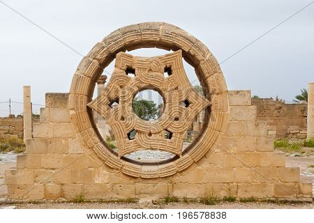 Hisham's Palace Stone Decoration In The West Bank City Of Jericho. Oldest City In World And Palestin