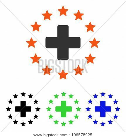 Starred Medical Cross vector icon. Illustration style is a flat iconic colored symbol with different color versions.