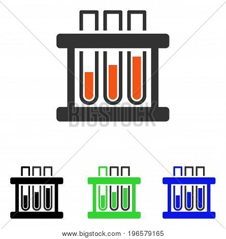 Test Tubes vector pictograph. Illustration style is a flat iconic colored symbol with different color versions.