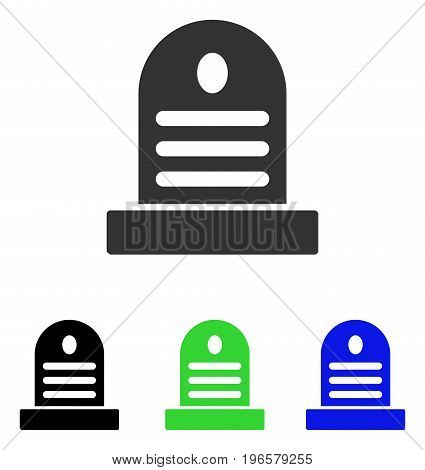 Tombstone vector pictograph. Illustration style is a flat iconic colored symbol with different color versions.