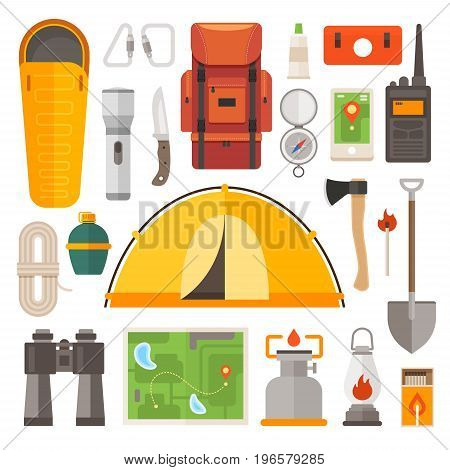 Set of equipment for travel, recreation, adventure. Collection camping equipment: backpack, sleeping bag, compass, binoculars, tent, map, axe. Preparing for the trip.