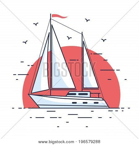 Image of luxury sailing yacht floating on the waves of the sea in background setting sun. Side view. Flat style.