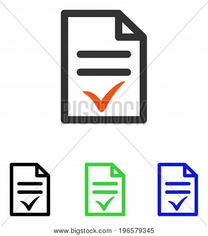 Valid Document vector pictogram. Illustration style is a flat iconic colored symbol with different color versions.