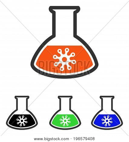 Virus Analysis vector icon. Illustration style is a flat iconic colored symbol with different color versions.